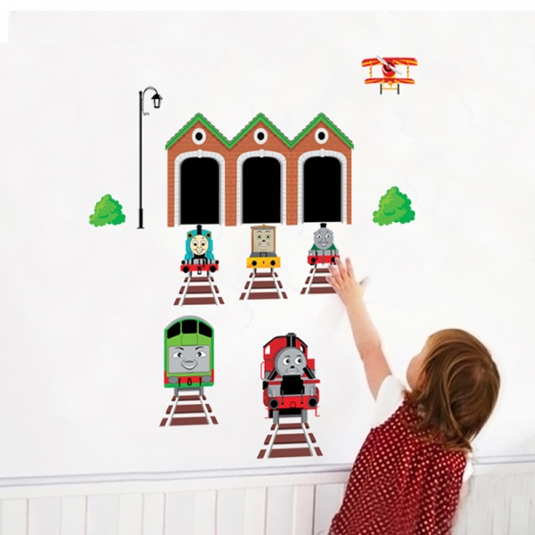 Abtibild perete copii - Trenulete in gara