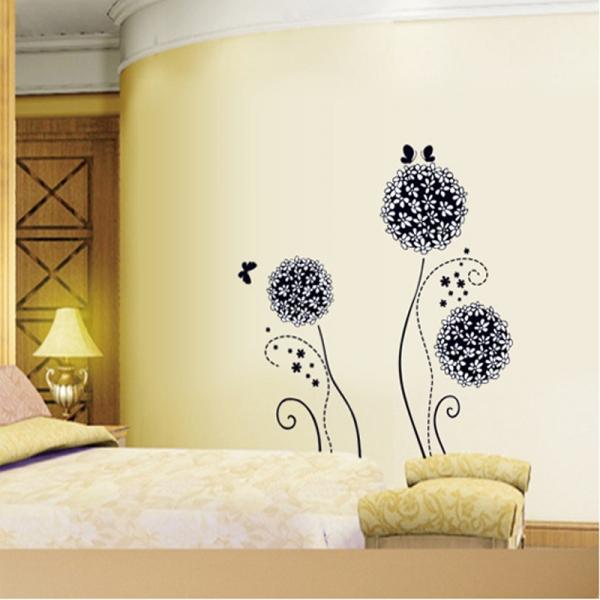 Autocolant decorativ - Flori si fluturi