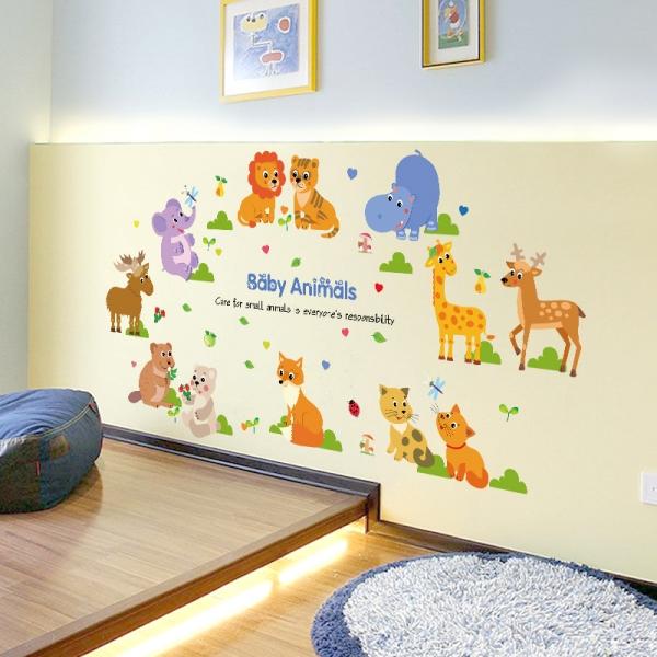 Autocolant decorativ pentru copii - Pui de animale