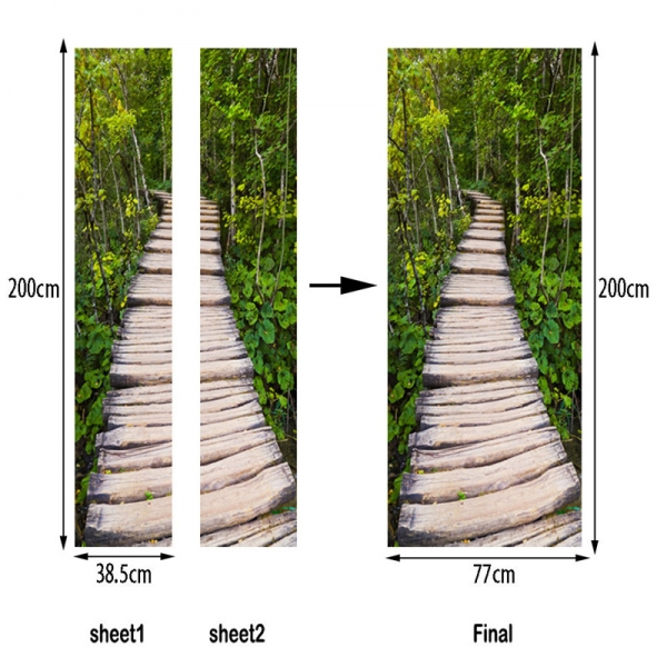 Autocolante usa - Scari de lemn in padure - 2 folii de 38,5x200 cm
