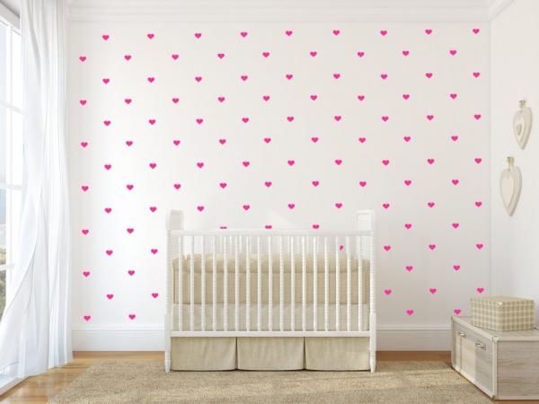 Decoratiuni camera bebe - Inimioare - Roz