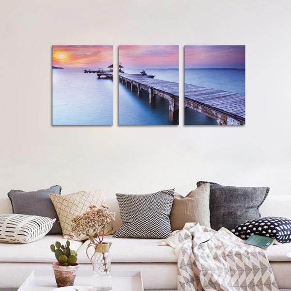 Set Tablouri Canvas - 3 piese - Ponton sub Asfintit Violet - 96x40 cm