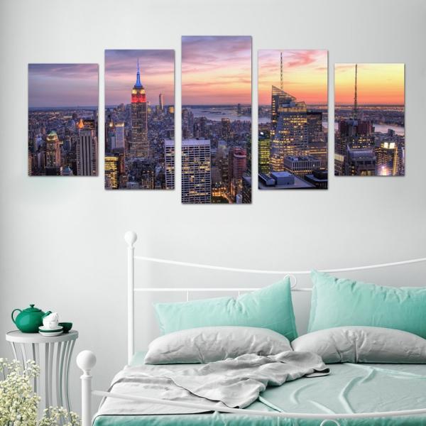 Set Tablouri Canvas - 5 piese - Oras Luminat - 133x60 cm