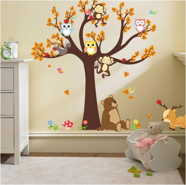 Sticker copii - Copac, frunze de toamna si animale