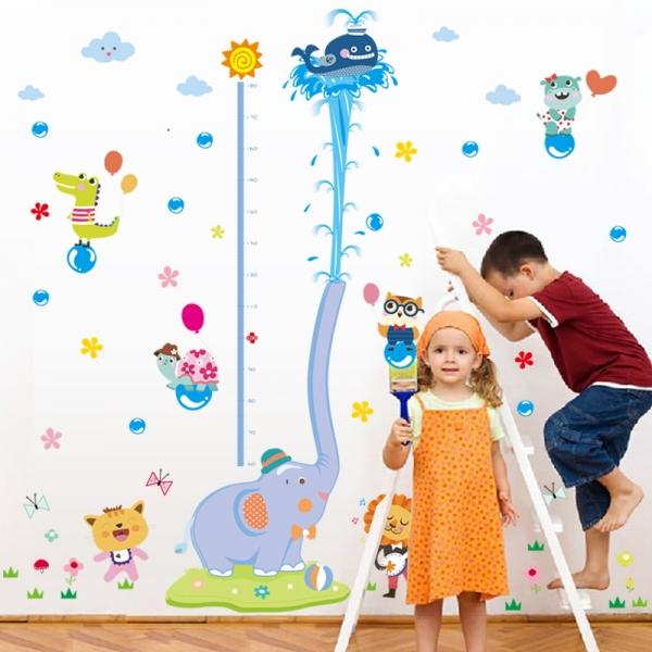 Sticker de perete camere copii - Grafic de crestere cu animale- masurator inaltime