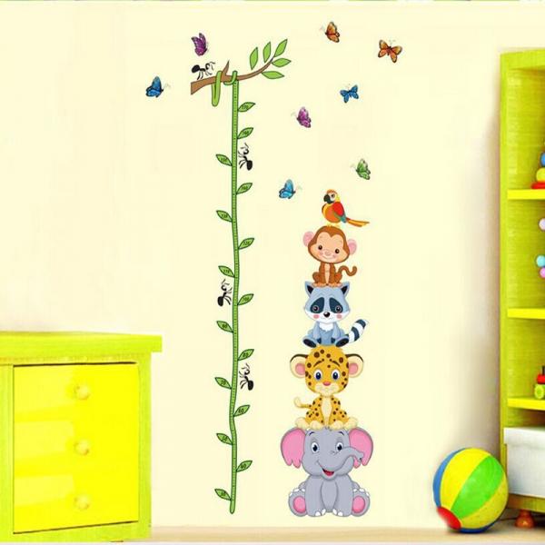 Sticker de perete copii - Grafic de crestere cu animale si fluturi - masurator inaltime
