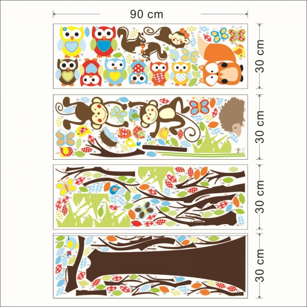 Sticker decorare camere bebelusi - Maimute si bufnite in copaci