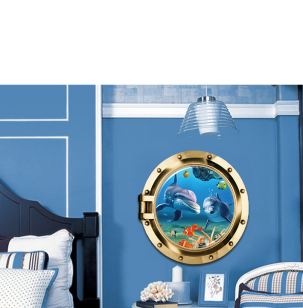 Sticker decorativ 3D - Delfini prin hublou