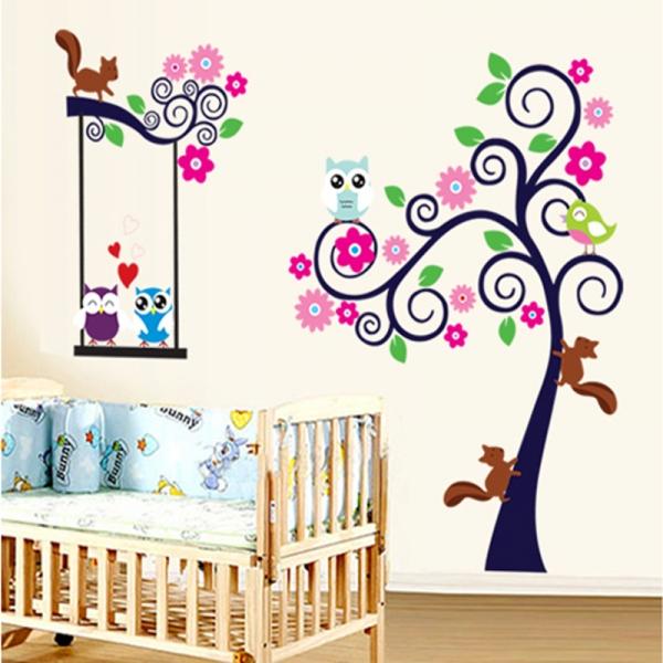 Sticker decorativ camera copii - Copac carliontat