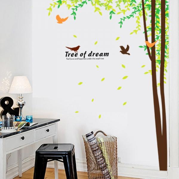 Sticker decorativ camera de zi - Padure si pasari