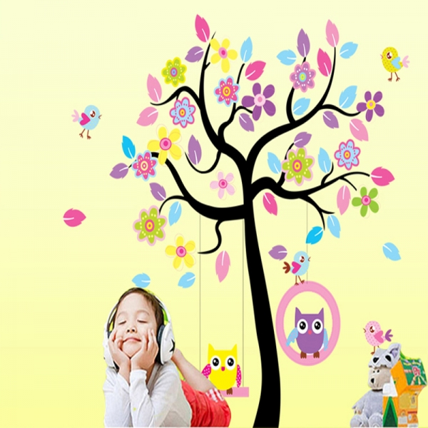 Sticker decorativ copii - Bufnite in leagan