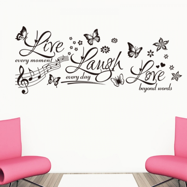 Sticker decorativ motivational - Text, flori, fluturi, muzica