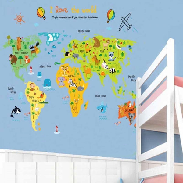 Sticker educativ - Harta animata a lumii pentru copii