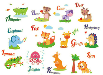 Sticker fosforescent - Animale in limba engleza