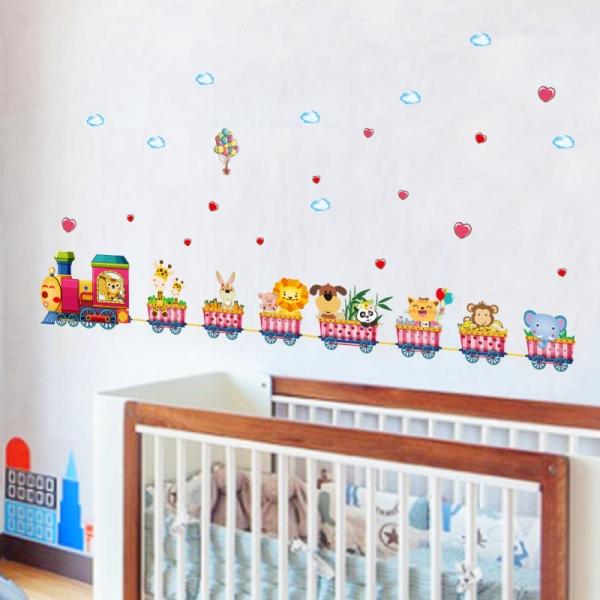Stickere bebe - Tren si vagoane cu animale