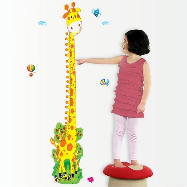 Stickere copii - Grafic de crestere girafa vesela - masurator inaltime