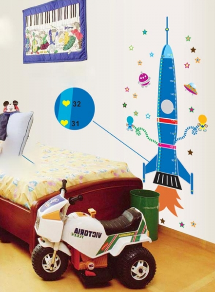 Stickere copii - Grafic de crestere Racheta spatiala - masurator inaltime