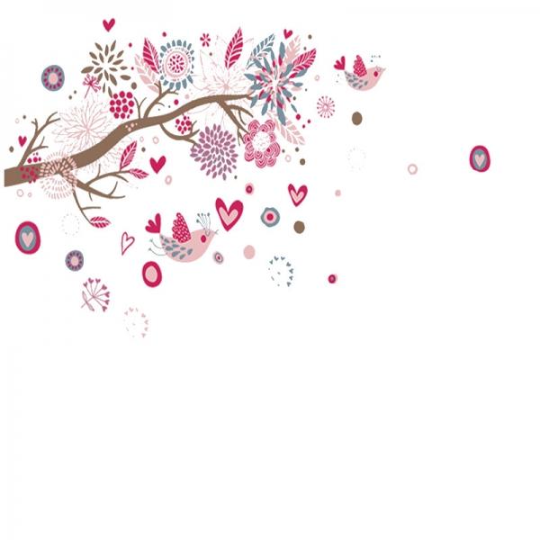 Stickere decorative - Ramura cu flori roz