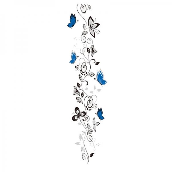 Stickere - Flori si fluturi albastri - 40x120 cm