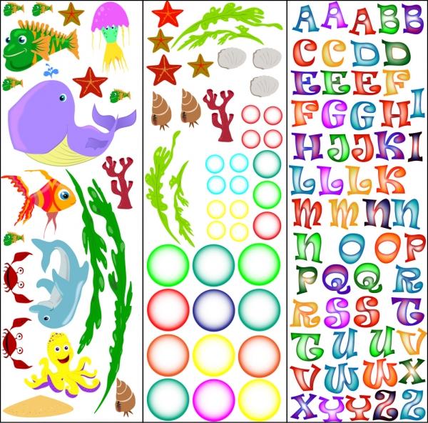 Stickere pentru camere bebelusi - Lumea marii - Nume personalizat din litere