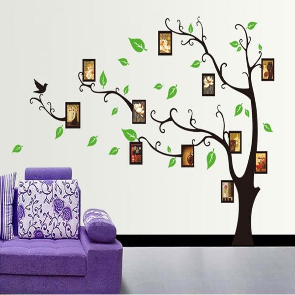 Stickere perete pentru camera de zi - Copac cu rame foto