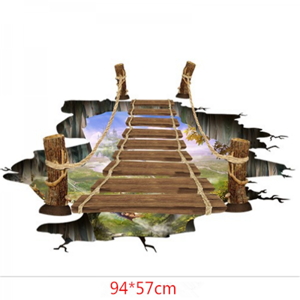 Sticker 3D pentru podea- Pod peste jungla - 57x94 cm 2