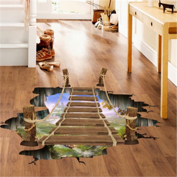 Sticker 3D pentru podea- Pod peste jungla - 57x94 cm
