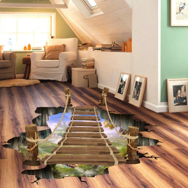 Sticker 3D pentru podea- Pod peste jungla - 57x94 cm 1