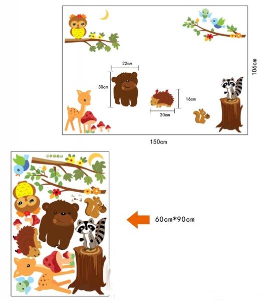 Autocolant de perete camere copii - Animalele padurii 6