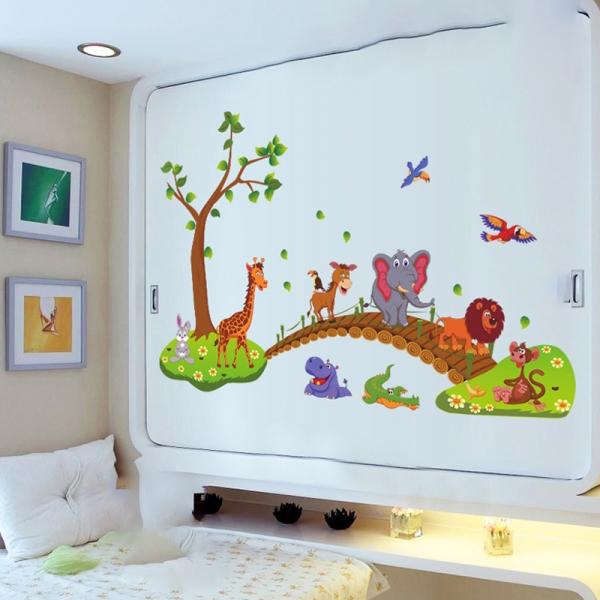 Autocolant de perete pentru copii - Podul cu animale