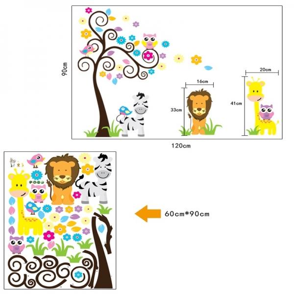 Autocolant decorativ - Copac carliontat si animalute 6