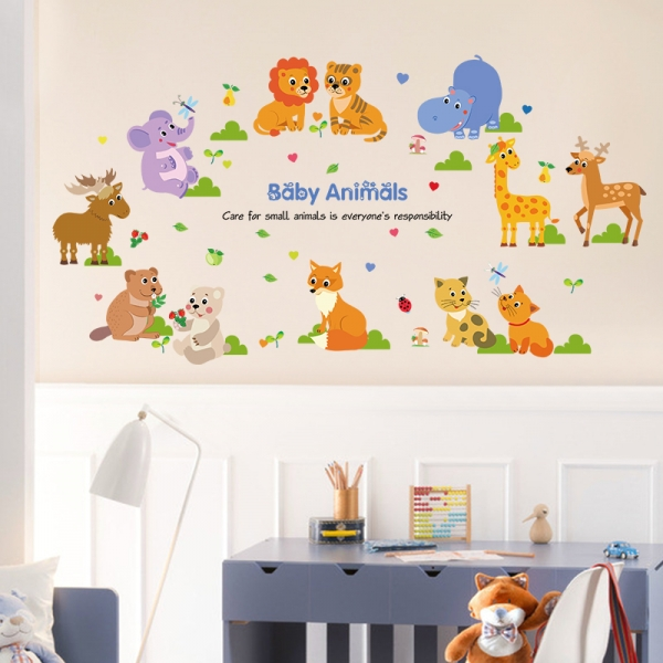 Autocolant decorativ pentru copii - Pui de animale 3