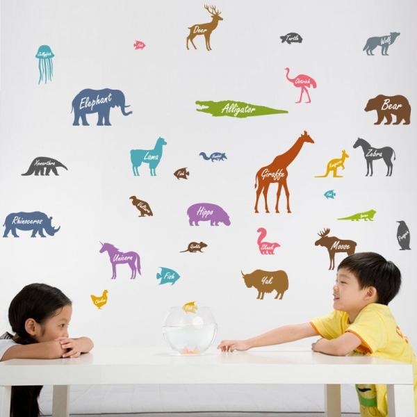 Autocolant educativ  - Siluetele animalelor si denumirea lor - 65x60 cm 0