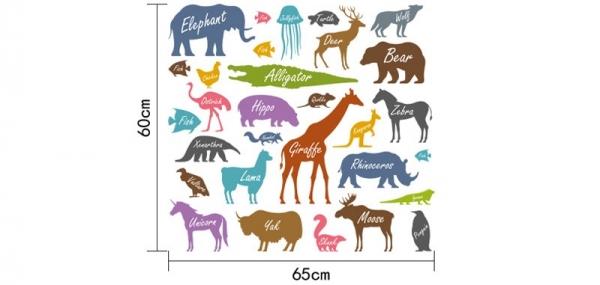 Autocolant educativ  - Siluetele animalelor si denumirea lor - 65x60 cm 6