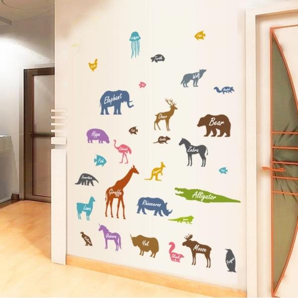 Autocolant educativ  - Siluetele animalelor si denumirea lor - 65x60 cm 3
