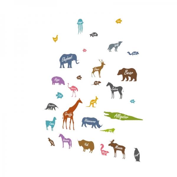 Autocolant educativ  - Siluetele animalelor si denumirea lor - 65x60 cm 4
