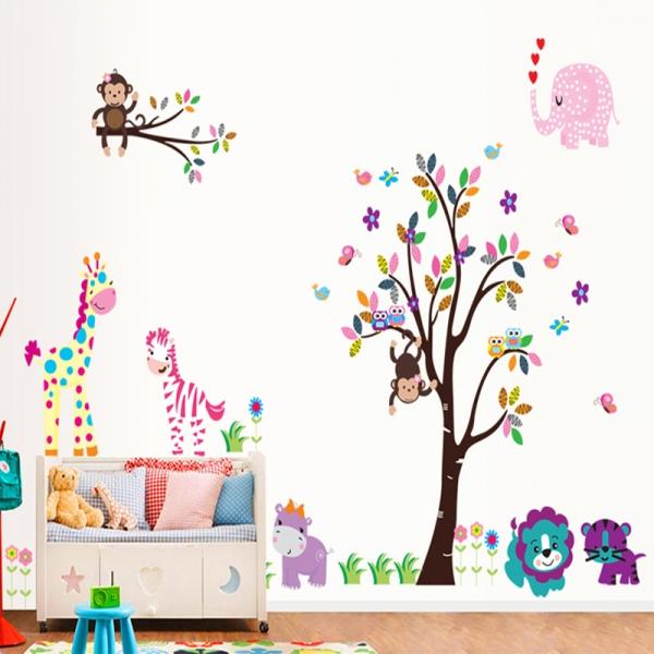 Autocolant gigant decorativ pentru copii - Jungla roz