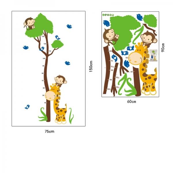 Autocolant masurator inaltime - copac cu girafa si maimute - grafic de crestere