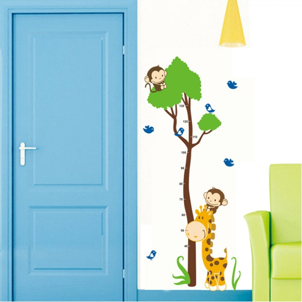 Autocolant masurator inaltime - copac cu girafa si maimute - grafic de crestere 5