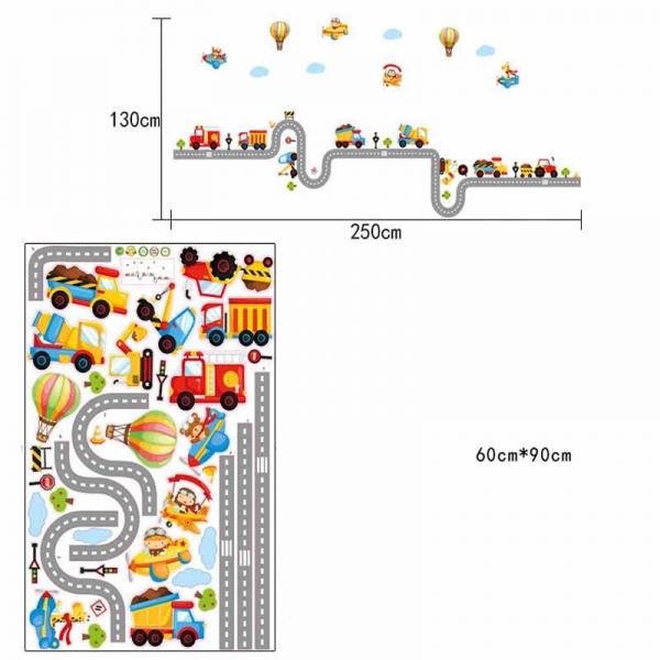 Autocolant pentru perete camere baieti - Masini, avioane si baloane 3