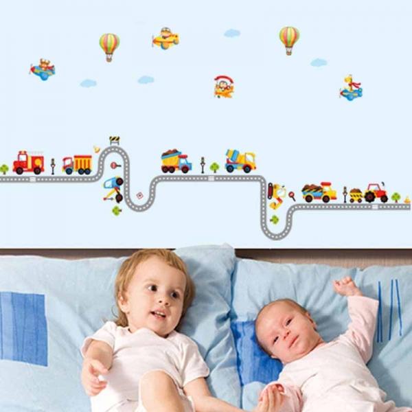 Autocolant pentru perete camere baieti - Masini, avioane si baloane 0