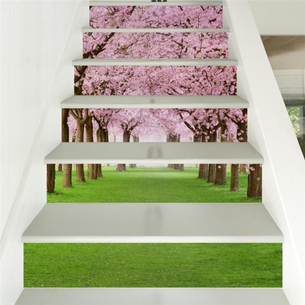 Autocolant pentru trepte - Livada de ciresi infloriti - 6 folii de 18x100 cm