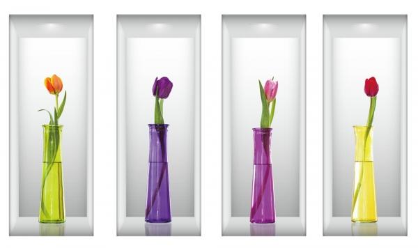 Autocolante camera de zi  - Vaze 3D - 60x120 cm