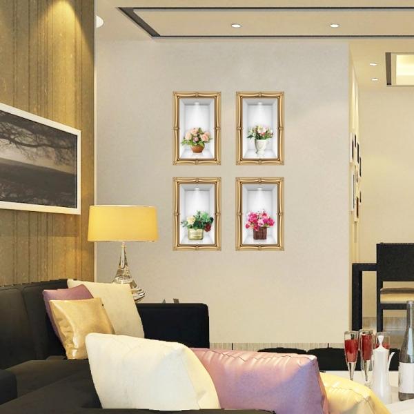 Stickere camera de zi - Aranajamente florale 3D - 122x44 cm