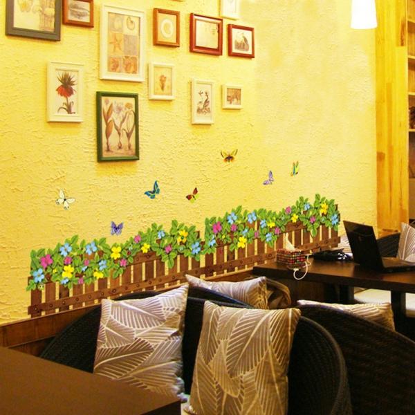 Stickere tip brau decorativ - Gradinita cu flori si fluturasi - 132x35 cm 2