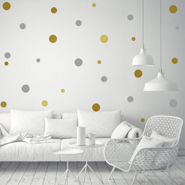 Decor perete camera bebe - Buline - Argintiu, Auriu