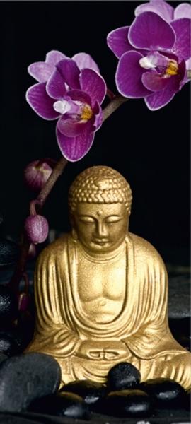 Fototapet Statueta Buddha si Flori de Orhidee