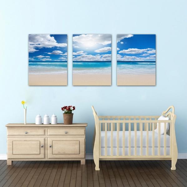 Set Tablouri Canvas - 3 piese - Plaja sub cer albastru - 78x36 cm