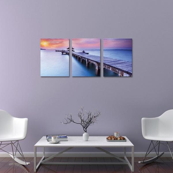 Set Tablouri Canvas - 3 piese - Ponton sub Asfintit Violet - 78x36 cm 0