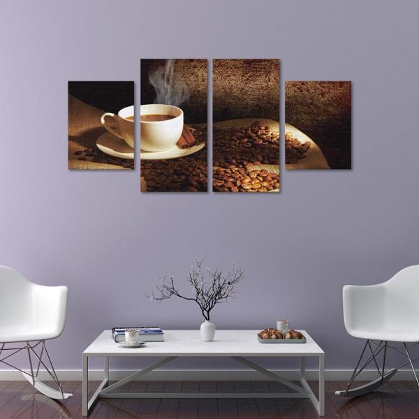 Set Tablouri Canvas - 4 piese - Ceasca si Boabe de Cafea - 128x60 cm